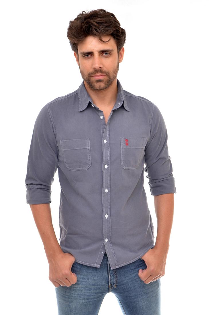 Camisa Jeans Cinza Bolso R Sergio K