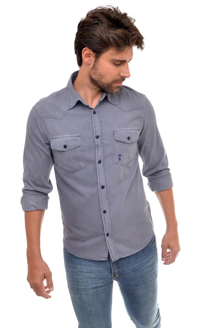 Camisa Jeans SK Cinza Bolsos