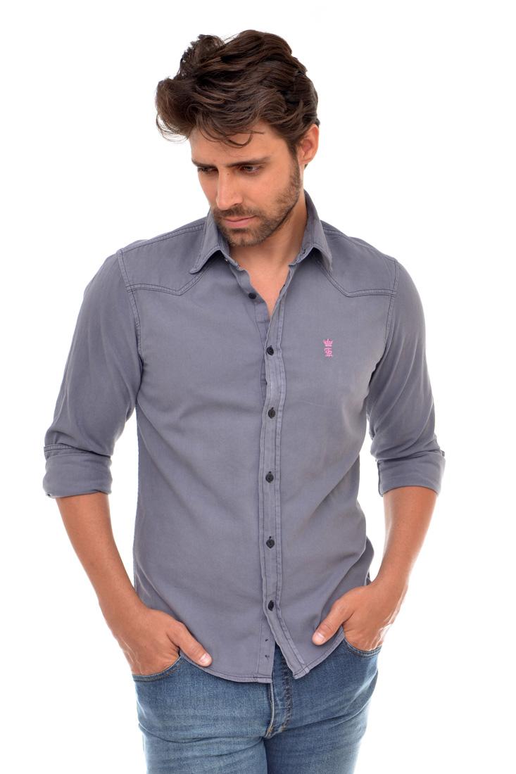 Camisa Jeans Cinza LR Sergio K   - Ca Brasileira