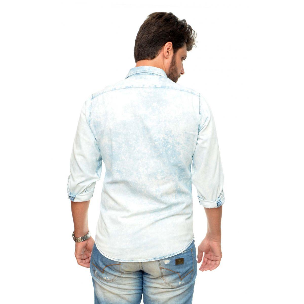 Camisa  Jeans Claro Sky Manchas Reserva  - Ca Brasileira