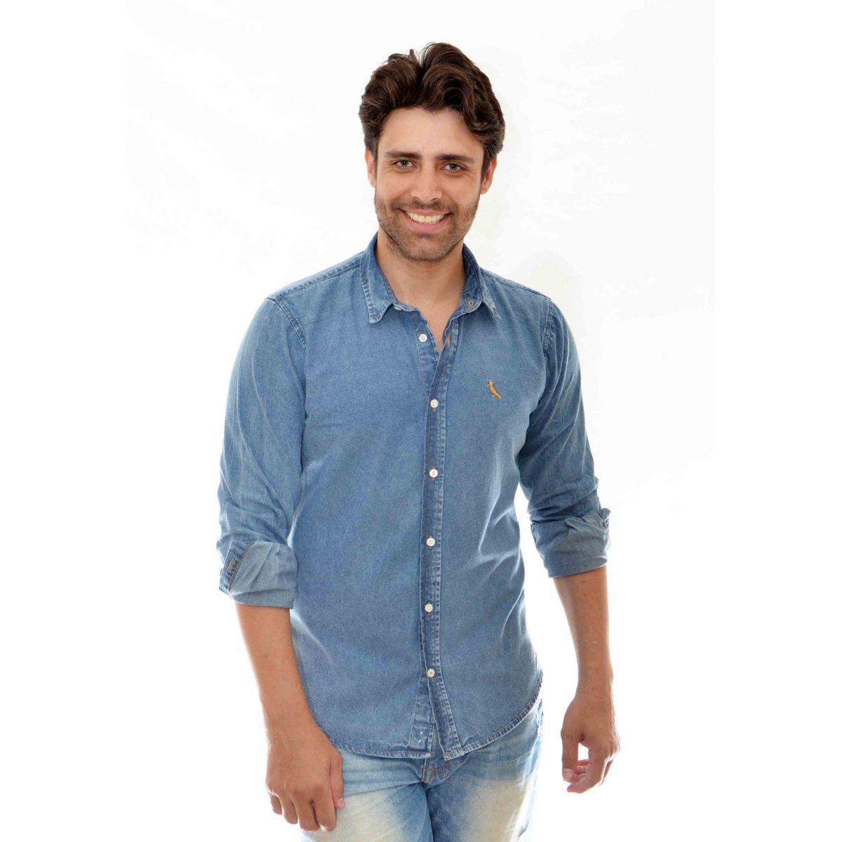 Camisa  Jeans Marmorizada Reserva    - Ca Brasileira