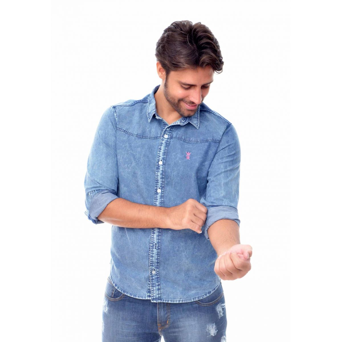 Camisa Jeans Marmorizada