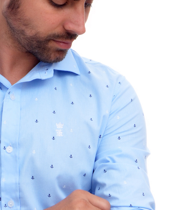 Camisa Social Azul Claro Mini Print Ancoras Sergio K   - Ca Brasileira