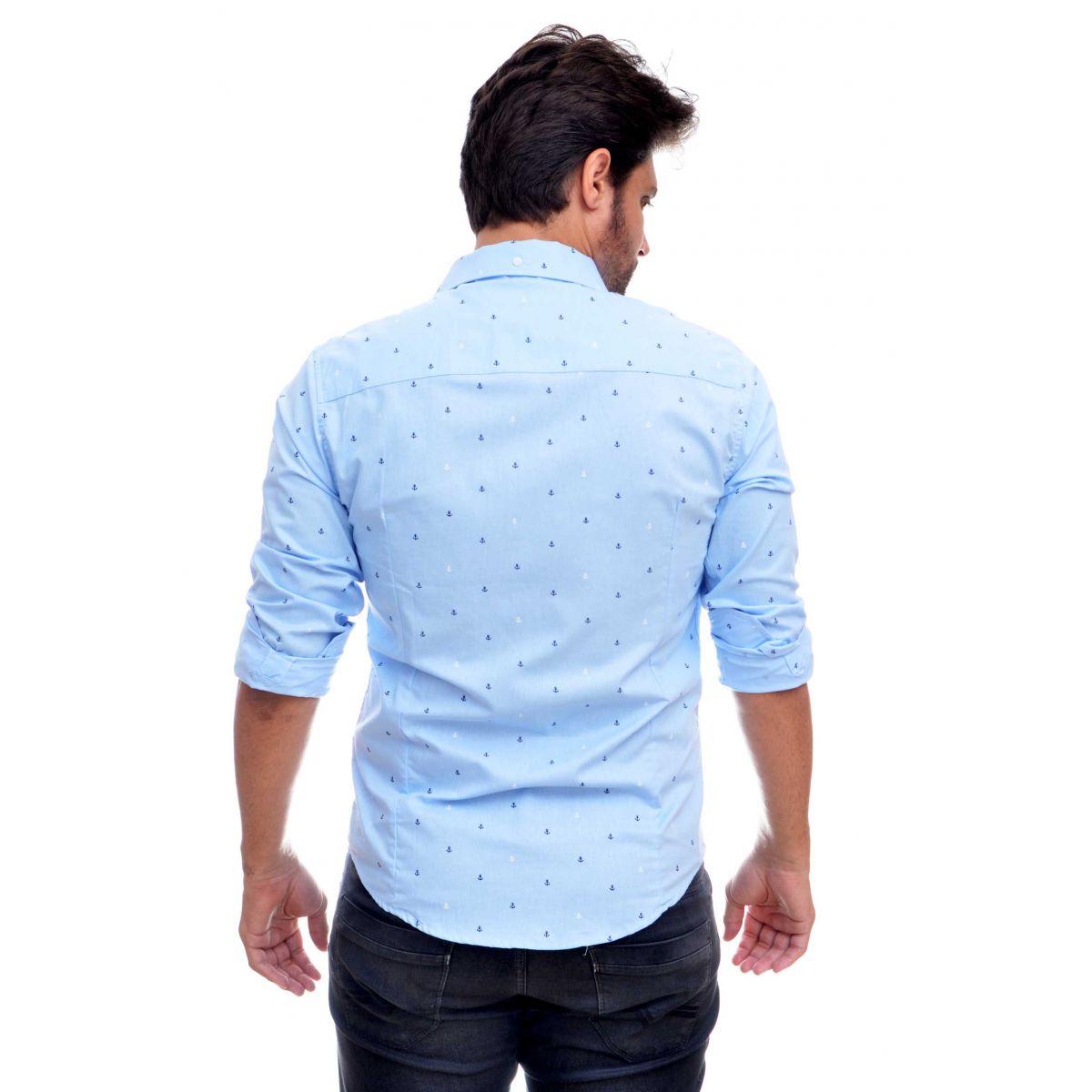 Camisa Social SK Azul Claro Mini Print Ancoras   - Ca Brasileira