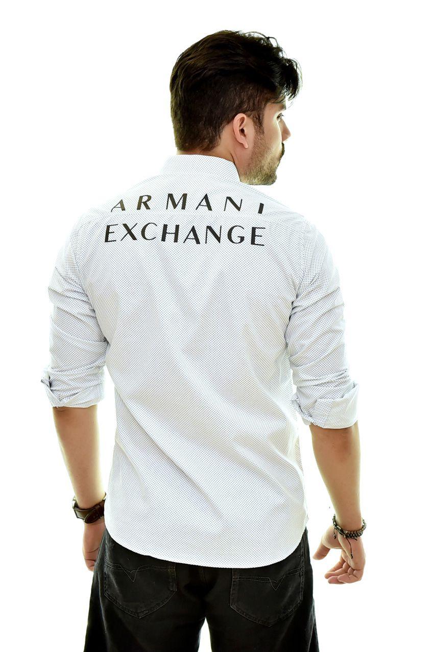 Camisa Social PRINT - POÁ Armani Exchange Branca   - Ca Brasileira