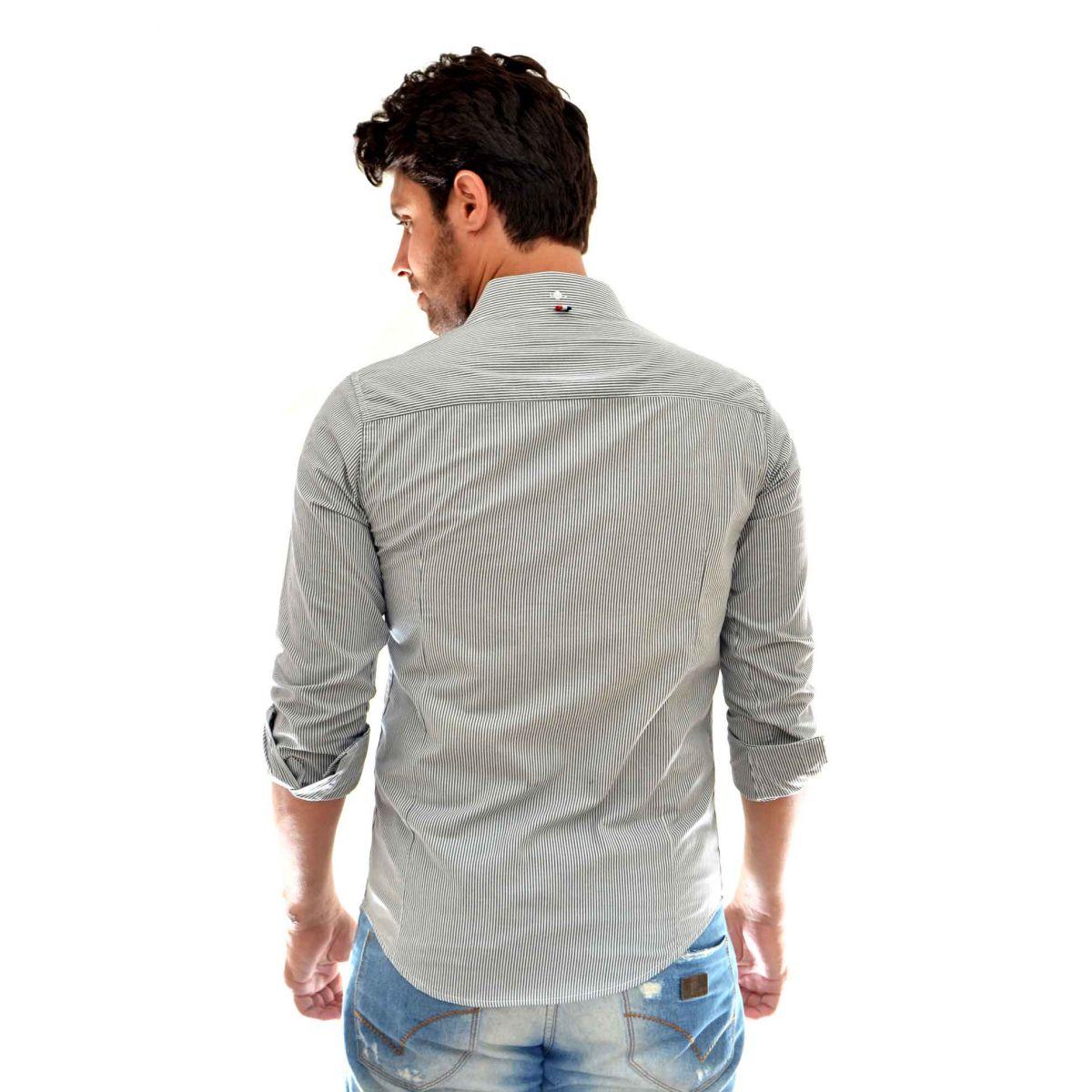 Camisa Social SK Listrada Cinza   - Ca Brasileira