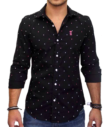 Camisa Social Preta Mini Print Ancoras Sergio K   - Ca Brasileira