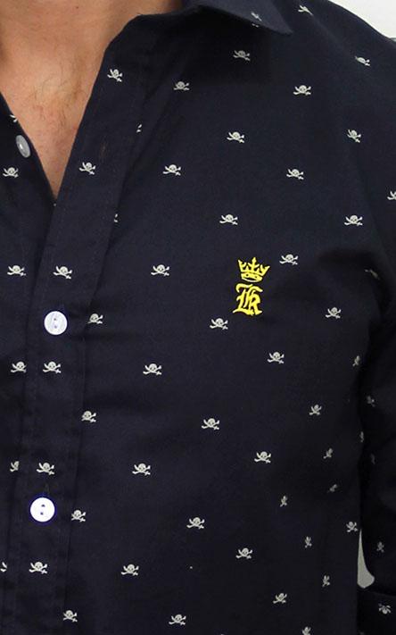 Camisa Social SK Preta Mini Print Caveiras    - Ca Brasileira