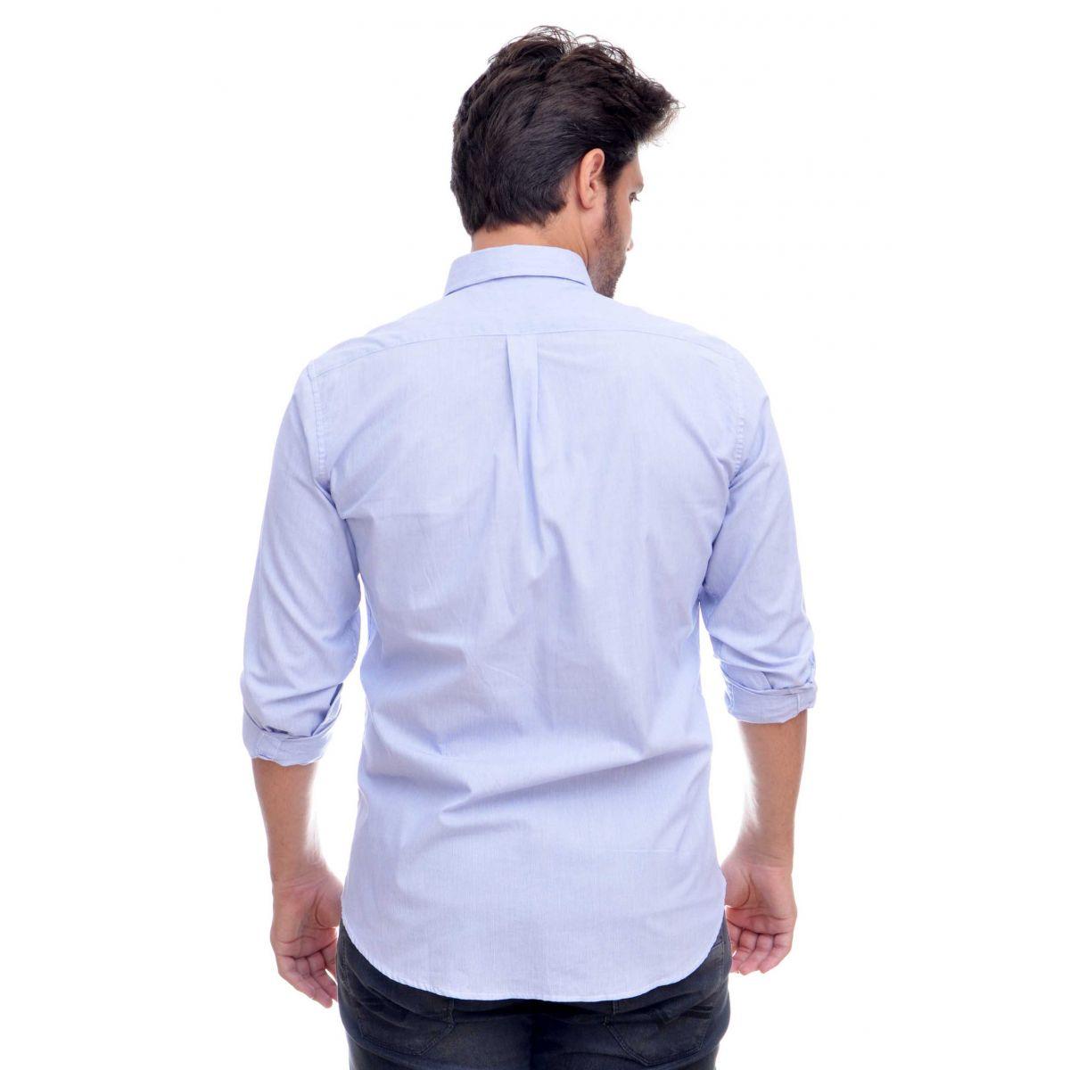 Camisa Social RL  Listras Azul/Branco Colored   - Ca Brasileira