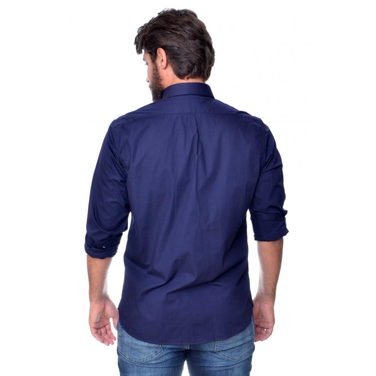Camisa Social RL Marinho / Branco - Regular Fit  - Ca Brasileira