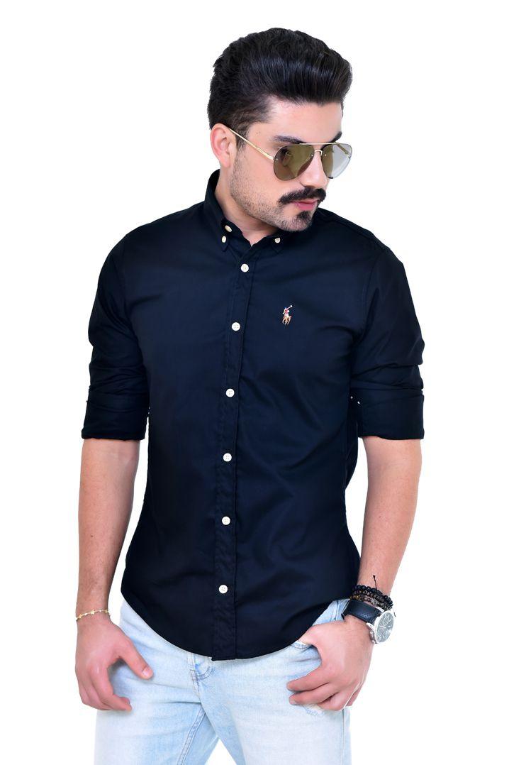 Camisa Social RL  Preta Colored - Custom Fit