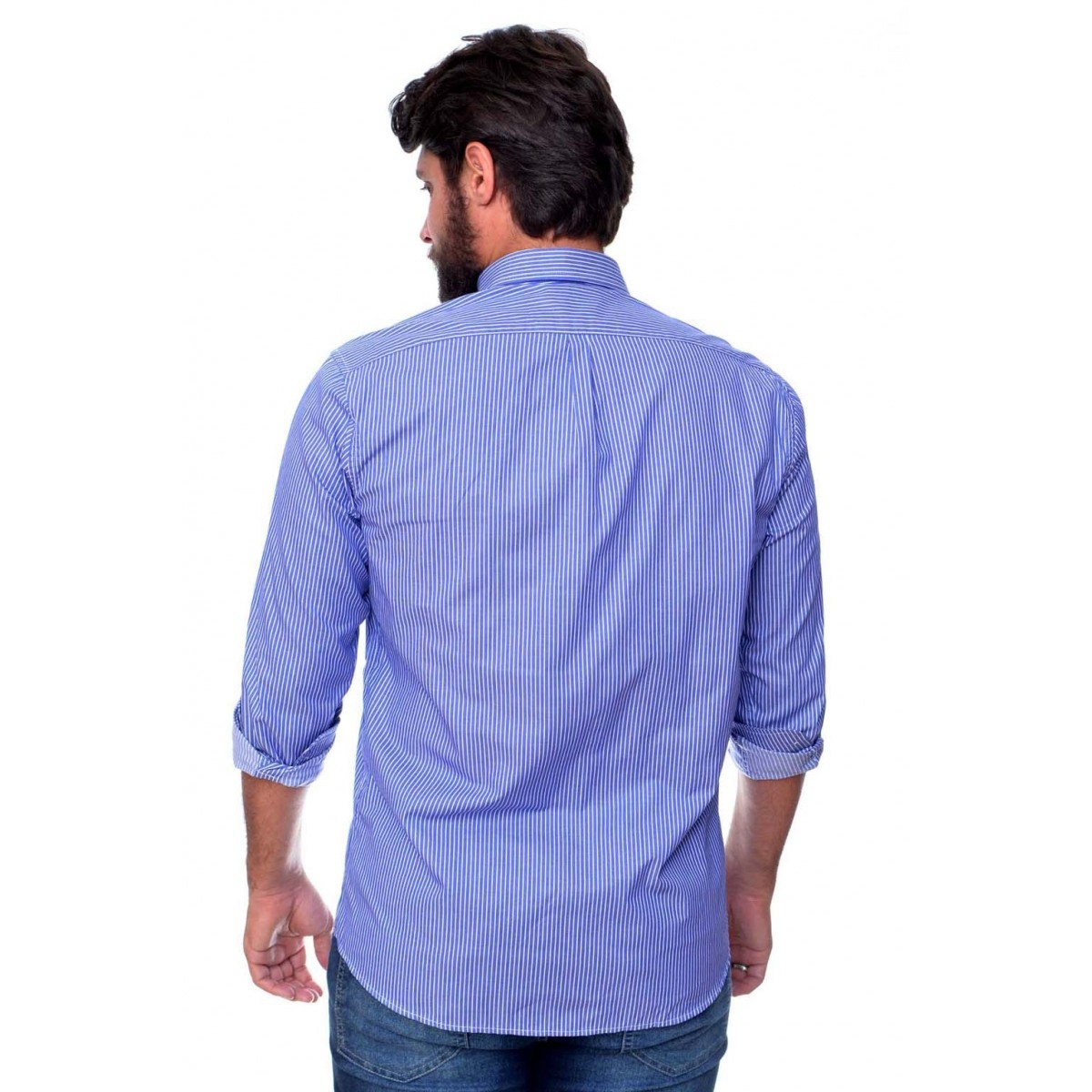 Camisa Social Listrada RL Stripes RA Blue - Regular Fit  - Ca Brasileira