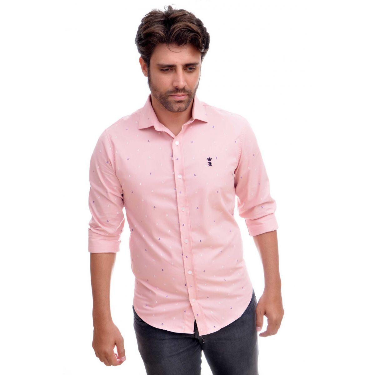 Camisa Social SK Rosa Mini Print Ancoras  - Ca Brasileira