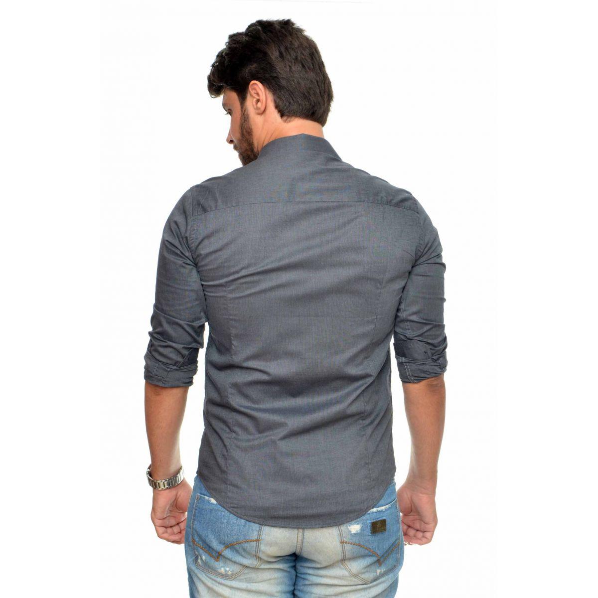 Camisa Social SK Basic Chumbo  - Ca Brasileira