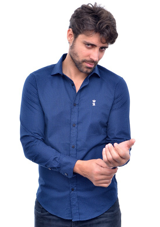Camisa Social SK Poa Marinho  - Ca Brasileira