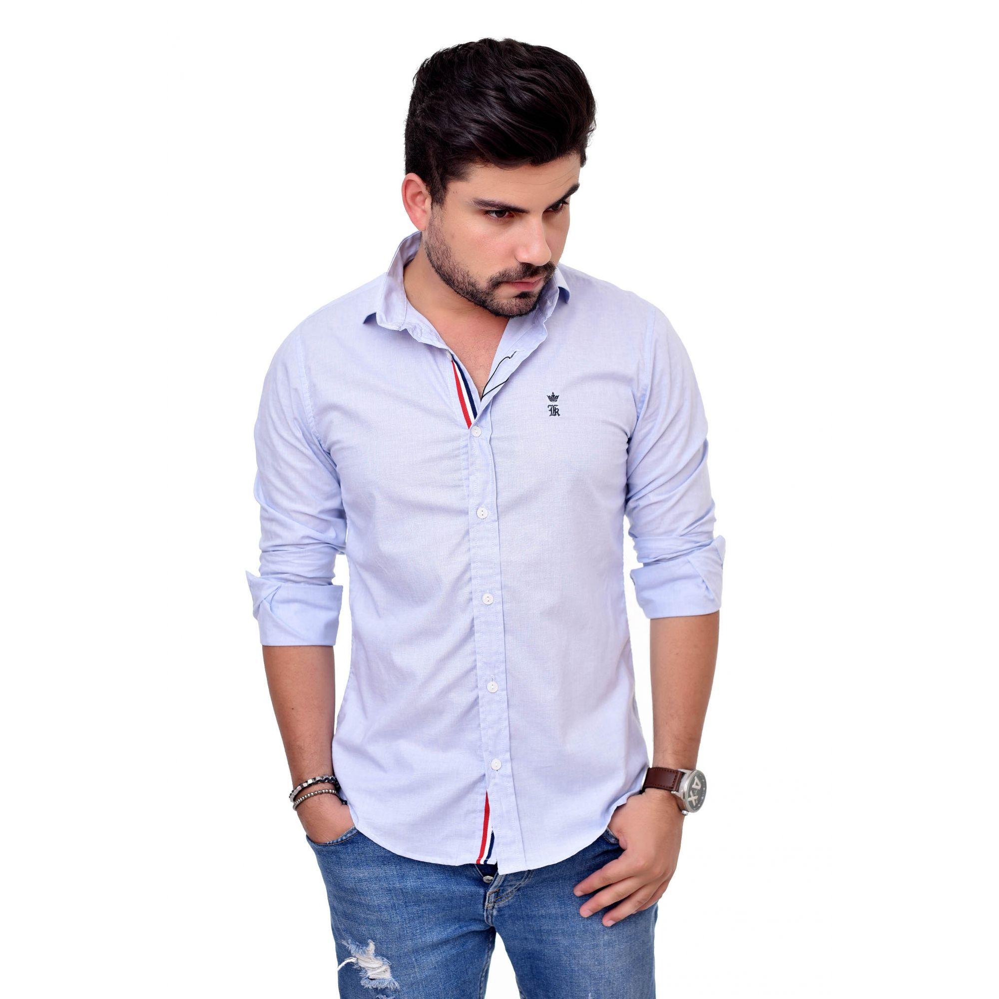 Camisa Social SK Azul Claro Style FF  - Ca Brasileira