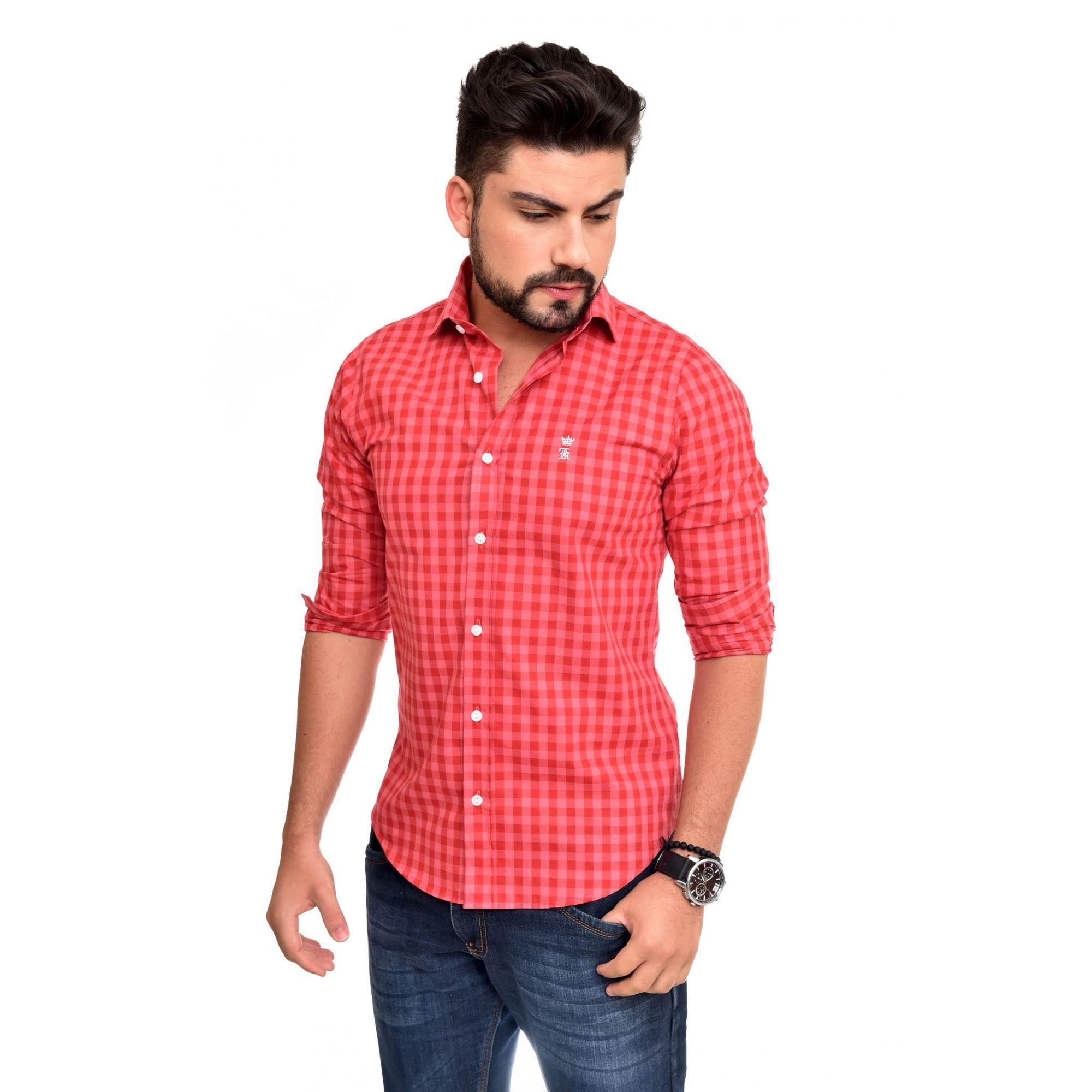 Camisa Social SK Xadrez Pink / Rosa   - Ca Brasileira