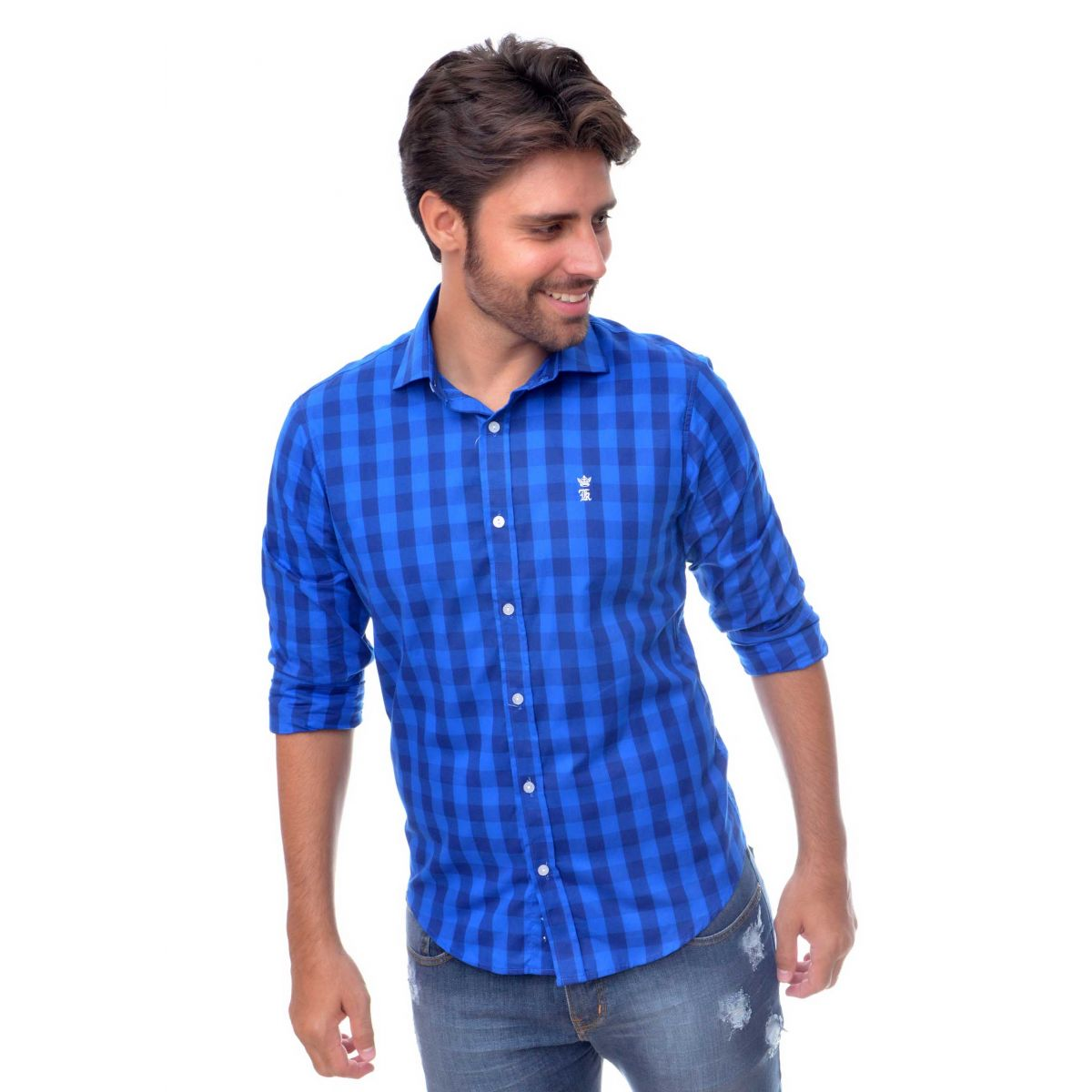 Camisa Social Xadrez Azul Royal SK  - Ca Brasileira