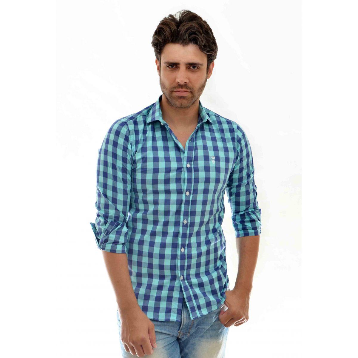 Camisa Social Xadrez Azul Turquesa SK  - Ca Brasileira