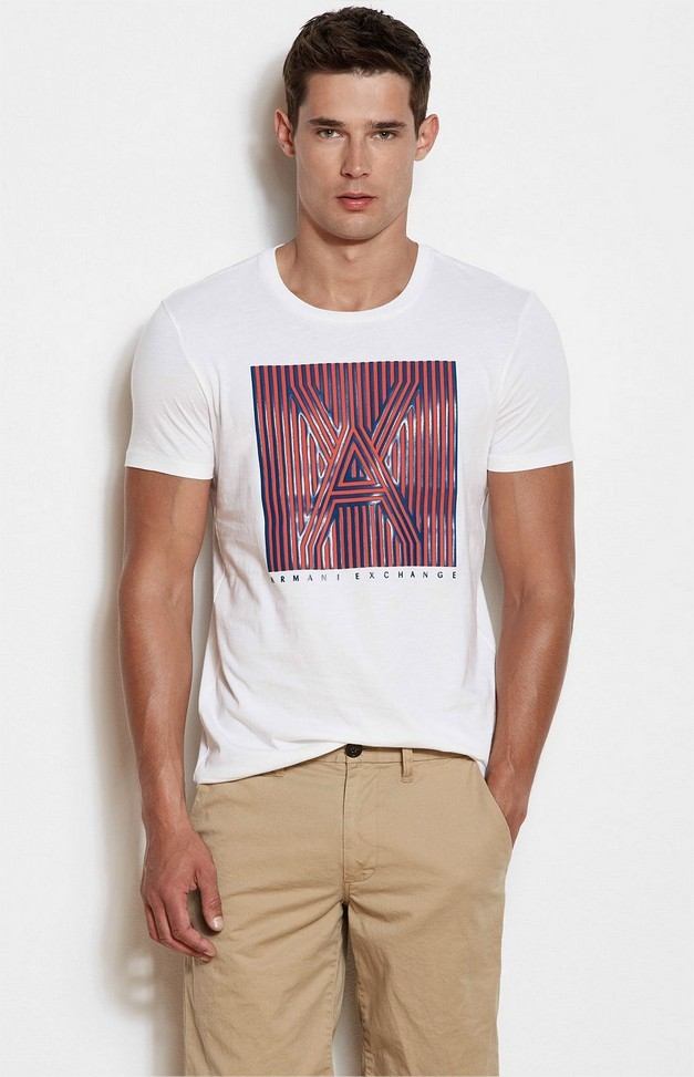 c7bfeedf665 Camiseta Armani Exchange Box Logo Branca Armani Exchange Camiseta ...