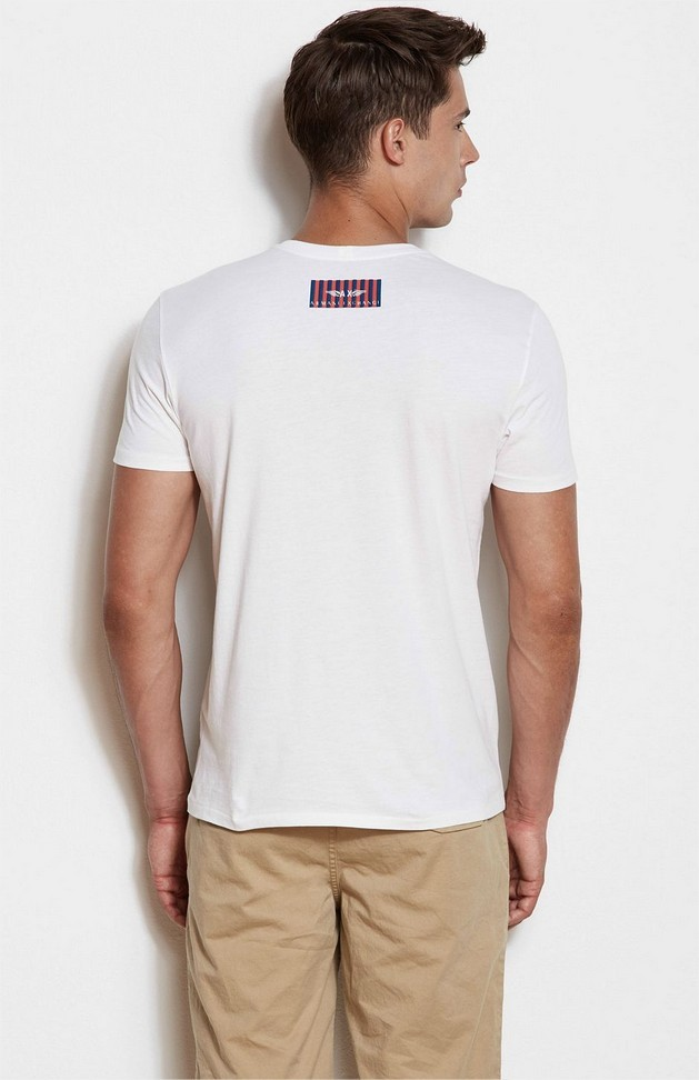 Camiseta Armani Exchange Box Logo Branca  - Ca Brasileira