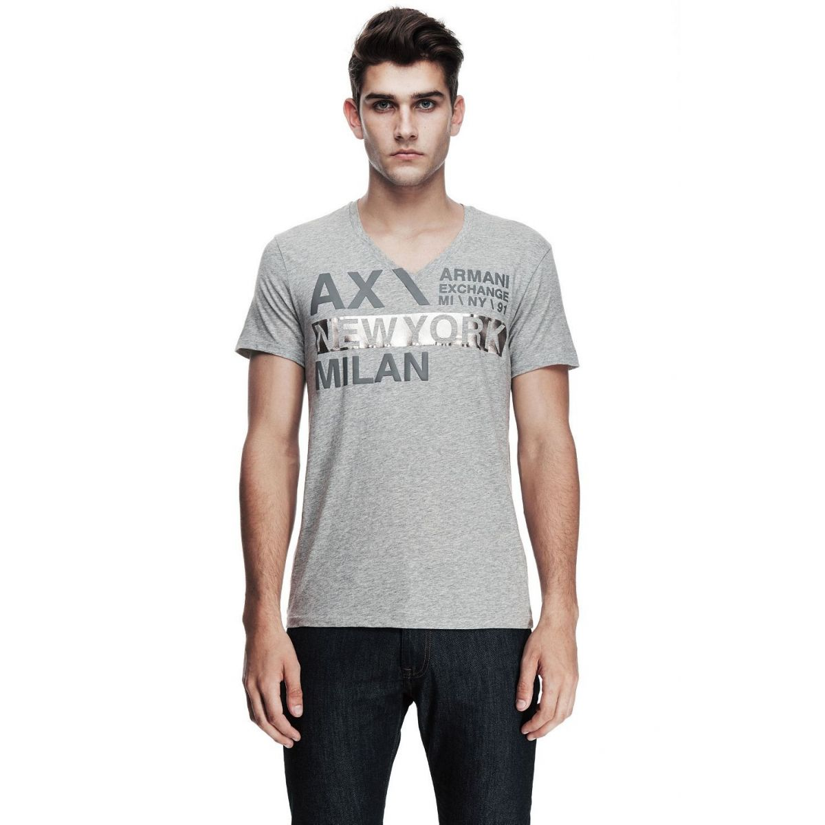 Camiseta Armani Exchange Box Logo Cinza
