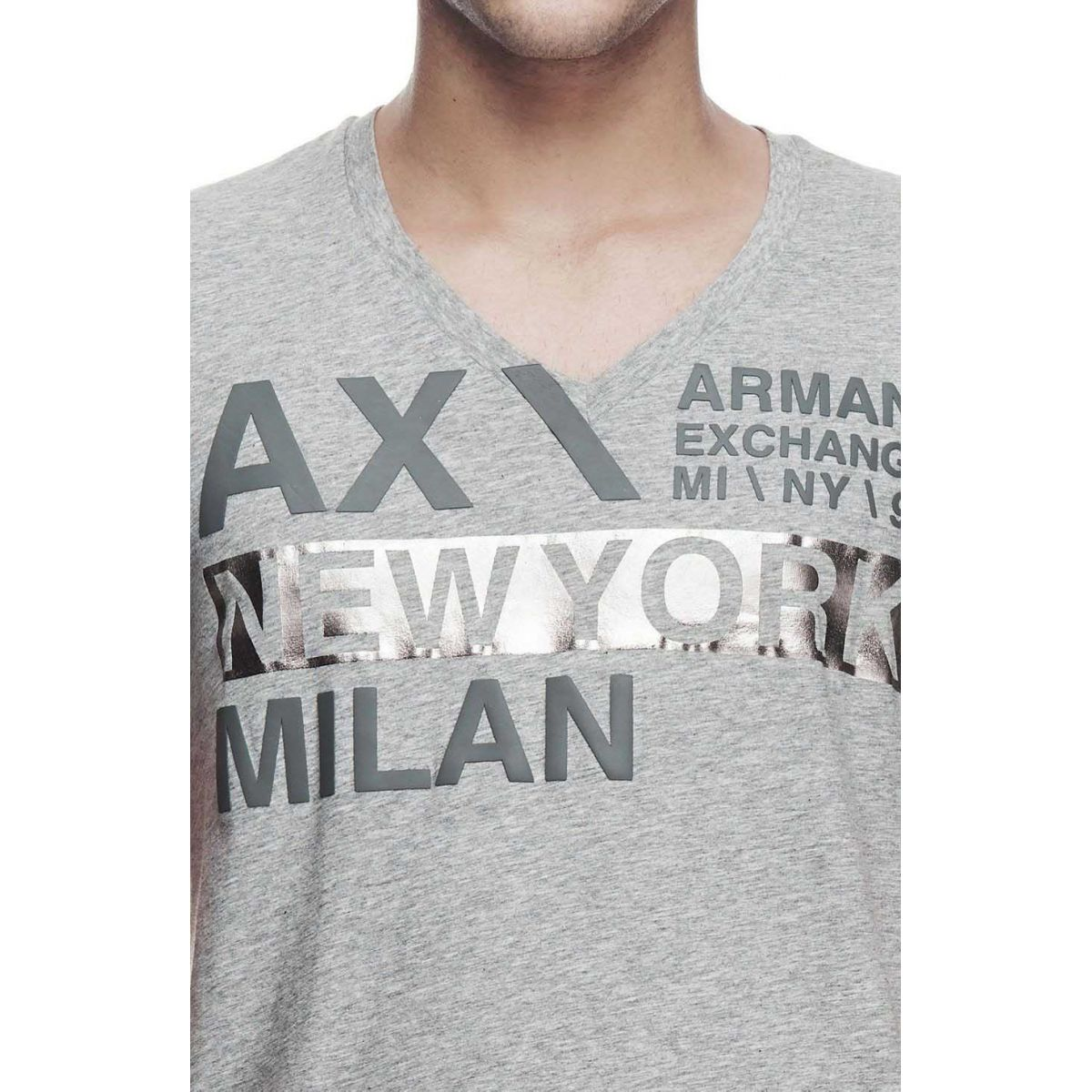 330545d4e0a Camiseta Armani Exchange Box Logo Cinza Armani Exchange Camiseta ...