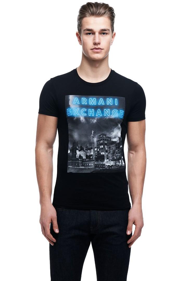 Camiseta Armani Exchange City Neon Preta  - Ca Brasileira