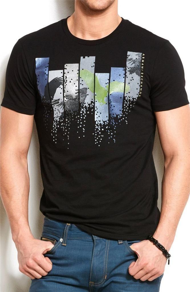 Camiseta Armani Exchange Eagle block Preta  - Ca Brasileira
