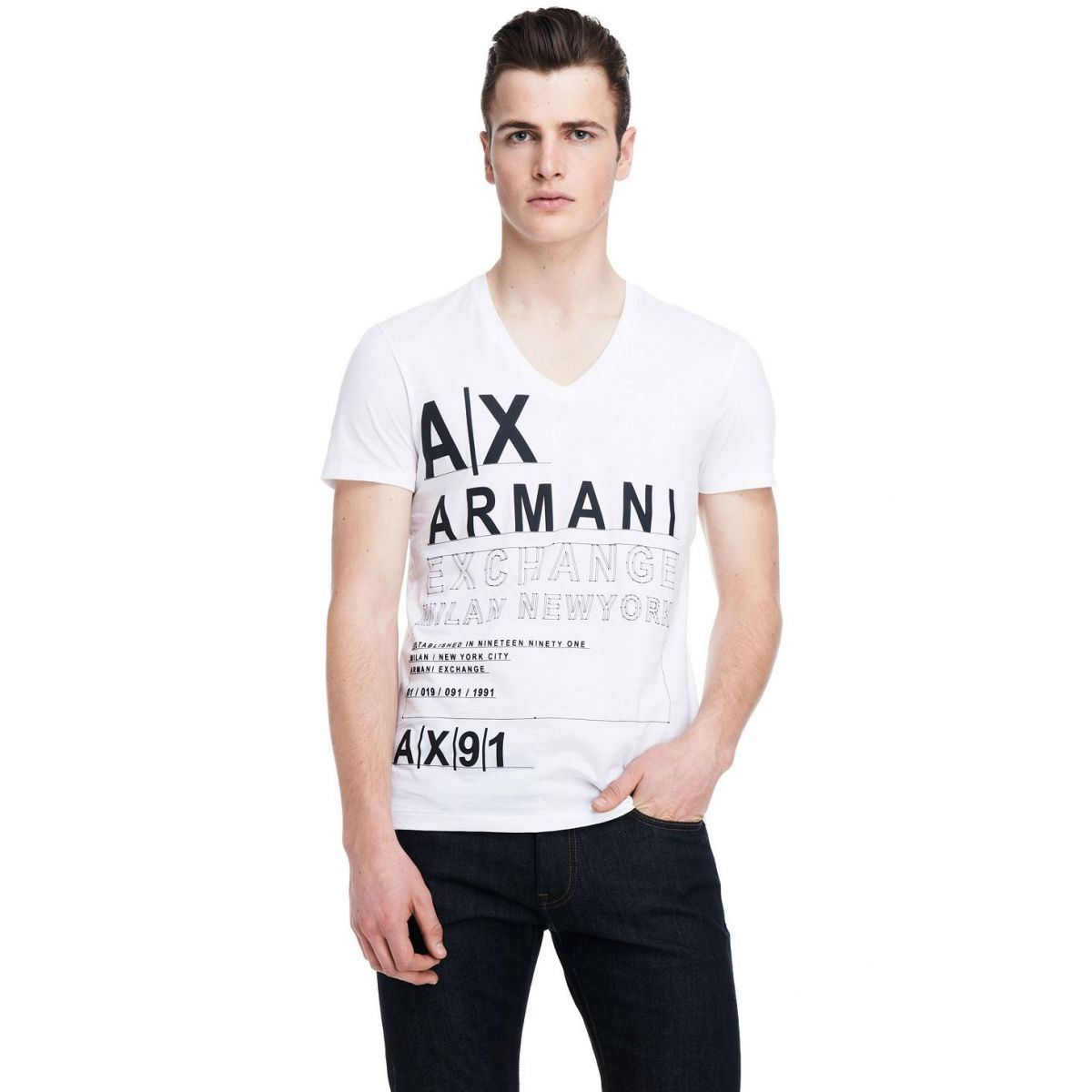 Camiseta Armani Exchange Set Logo Branca