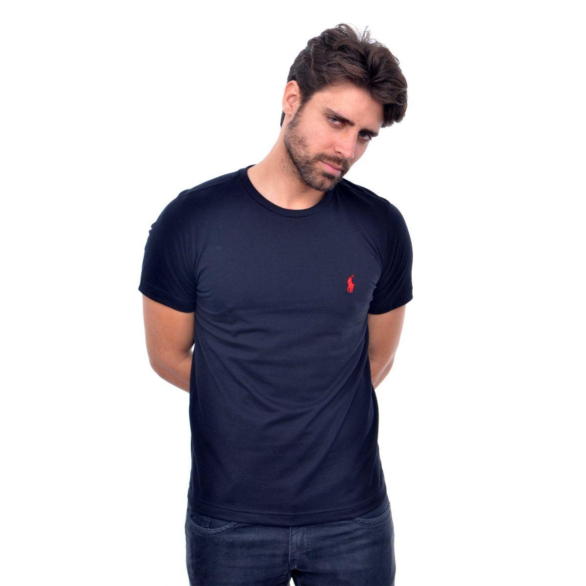 Camiseta Basic Ralph Lauren Preta Red  - Ca Brasileira