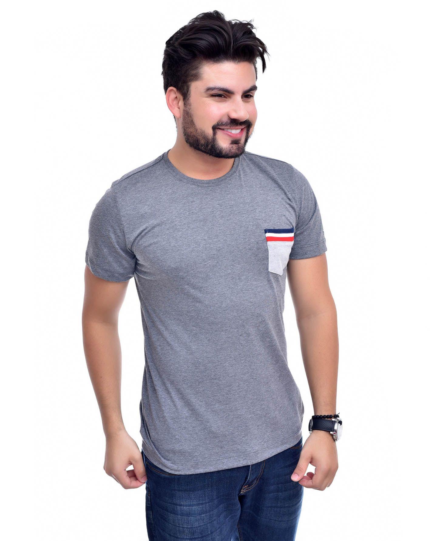Camiseta Bolso TH Mescla Escuro / MC