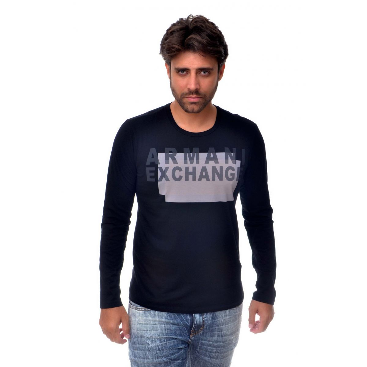 Camiseta Manga longa Armani Exchange Box Preta  - Ca Brasileira