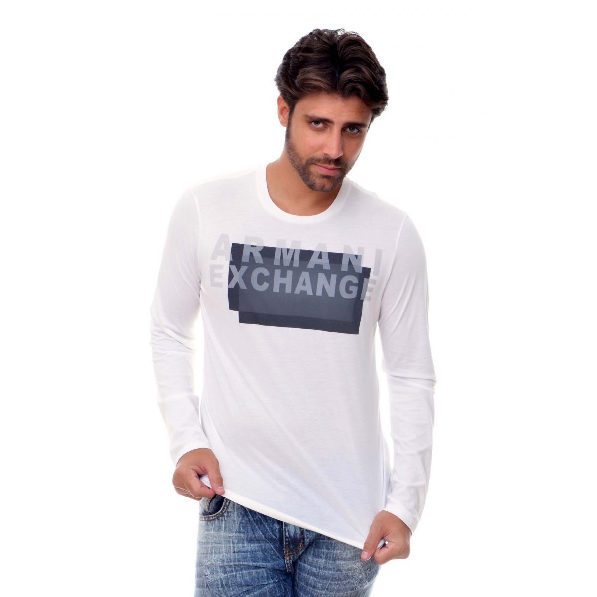 Camiseta Manga longa Armani Exchange Box Branca