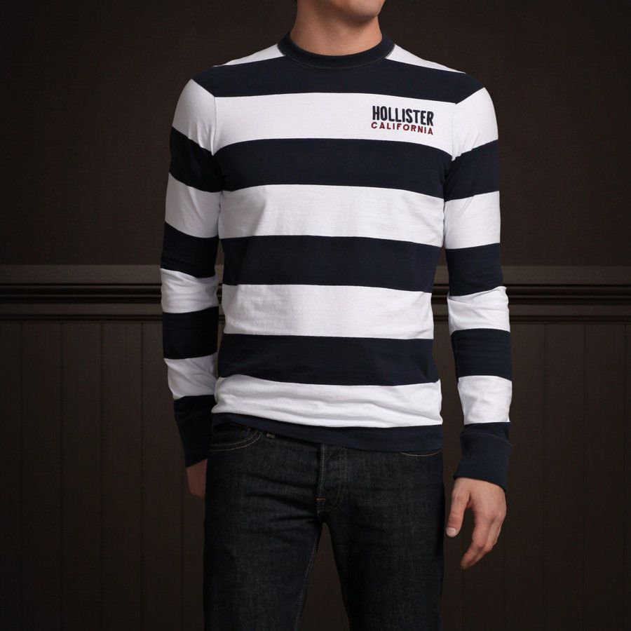 Camiseta Manga longa Hollister Stripes   - Ca Brasileira