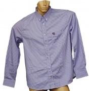 Camisa Social Masculina Listrada Azul