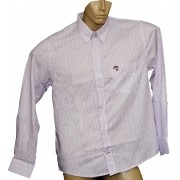 Camisa Social Masculina Quadriculada Listrada Lilás