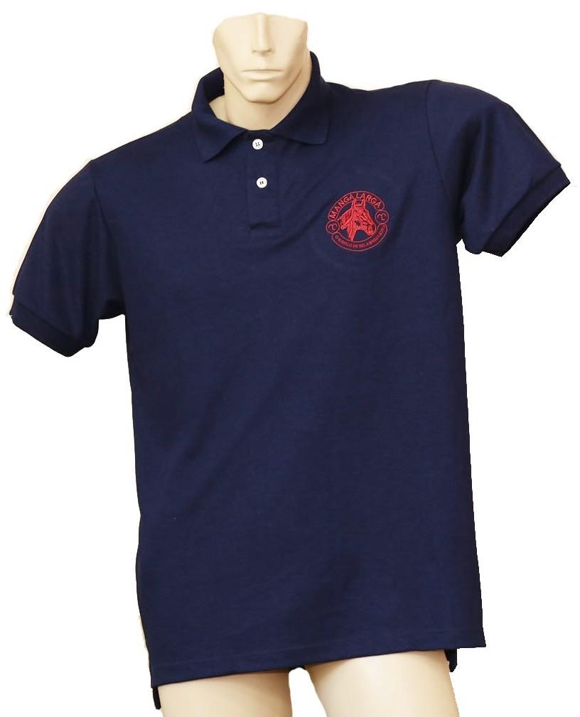 "Camisa Polo Masculina Azul Marinho/Chancela Vermelha ""G""  - Boutique Mangalarga"