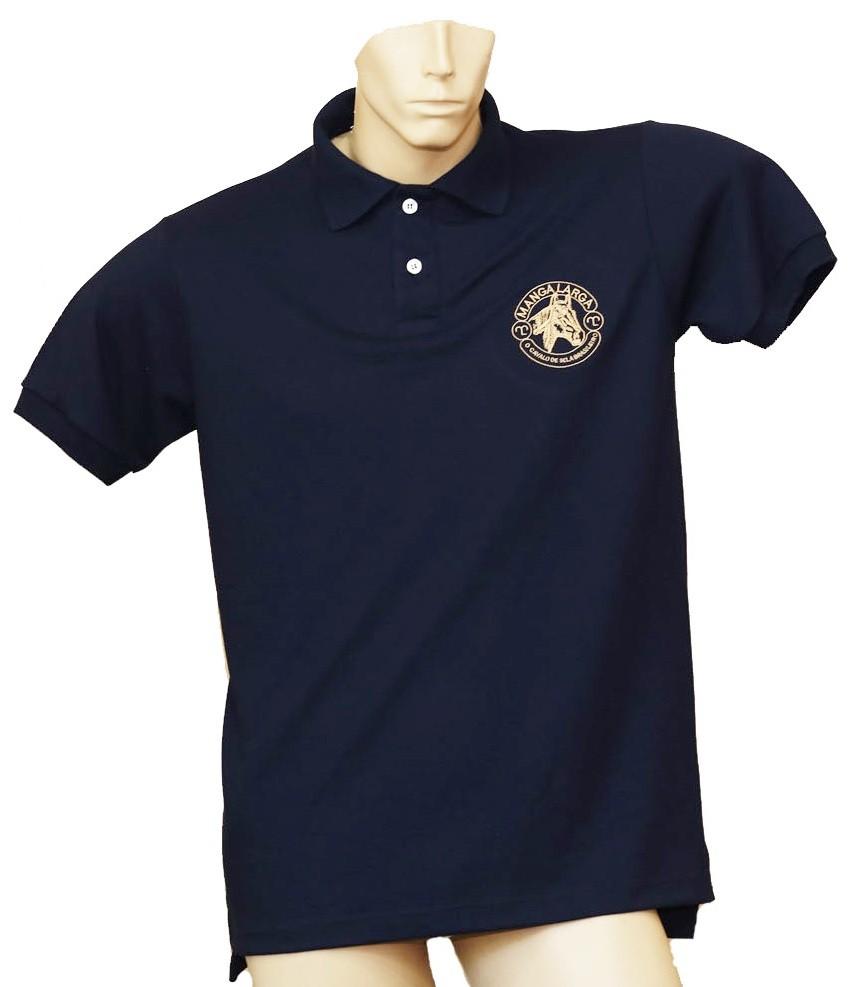 """Camisa Polo Masculina Azul Marinho/Chancela Bege """"G""""  - Boutique Mangalarga"""