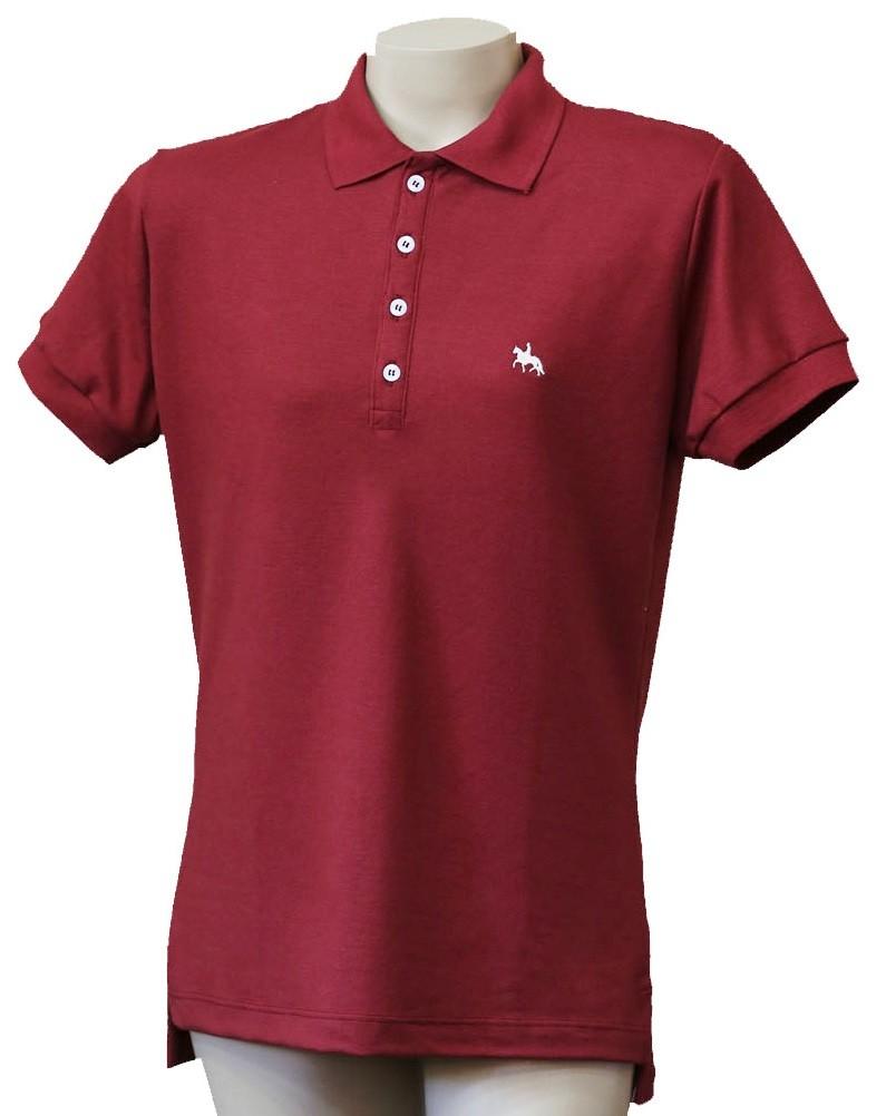 """Camisa Polo Feminina Vinho """"M""""  - Boutique Mangalarga"""