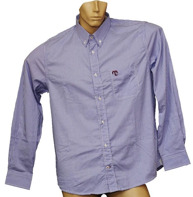 "Camisa Social Masculina Listrada Azul ""M""  - Boutique Mangalarga"