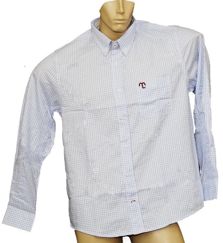 """Camisa Social Masculina Quadriculada Azul Claro """"M""""  - Boutique Mangalarga"""