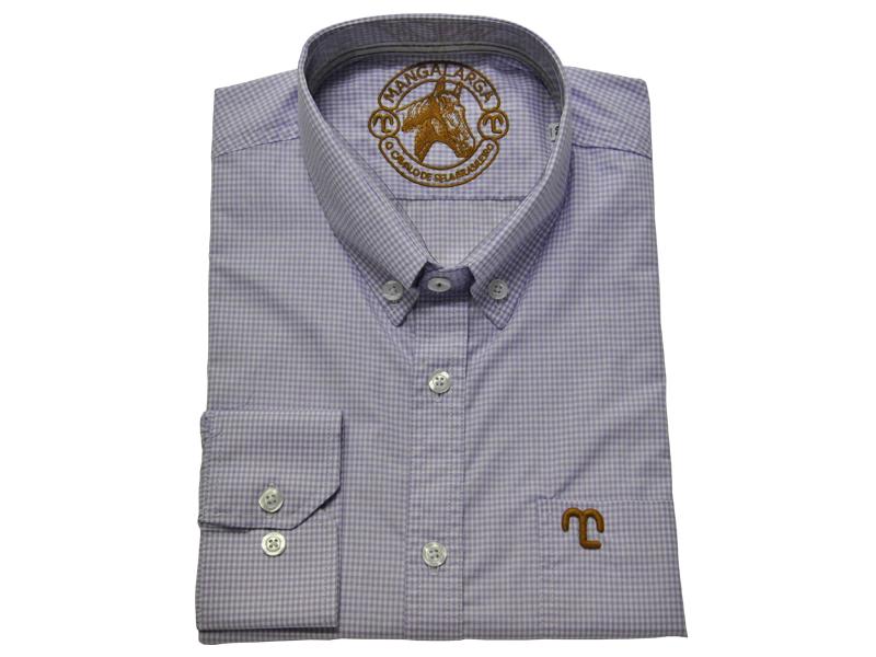 """Camisa Social Quadriculada Lilás """"GG""""  - Boutique Mangalarga"""