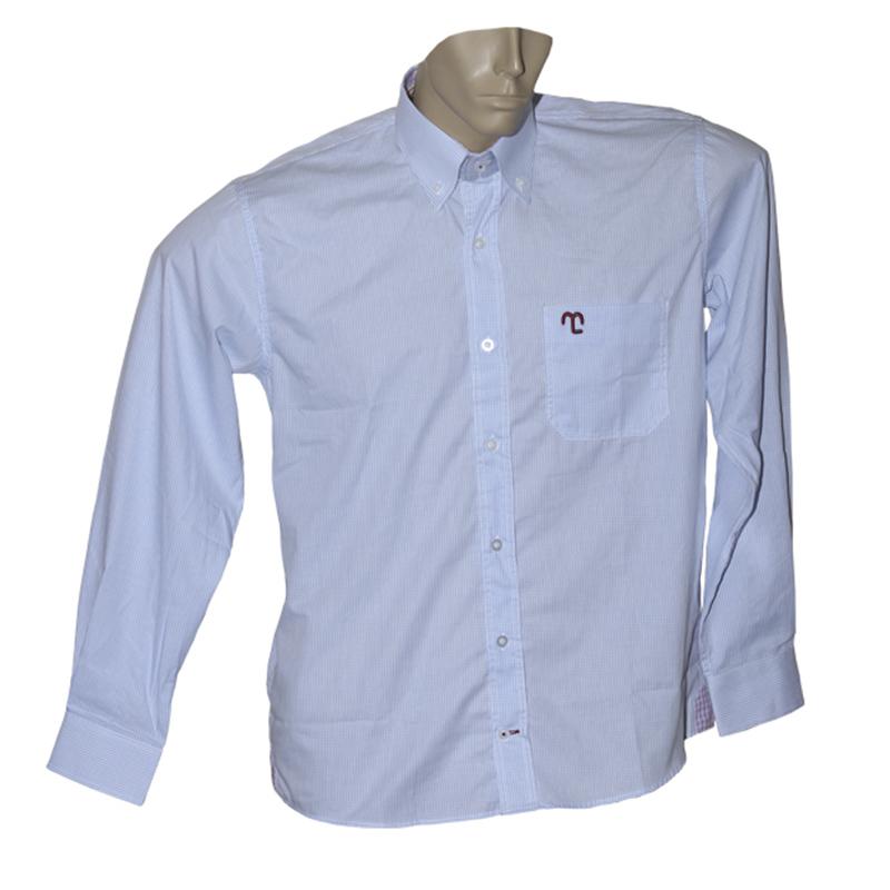 """Camisa Social Quadriculada Azul Claro """"P""""  - Boutique Mangalarga"""