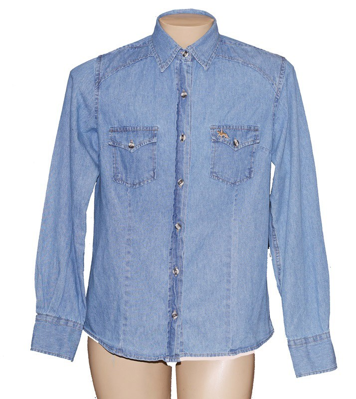 "Camisa Jeans Feminina Clara ""G""  - Boutique Mangalarga"