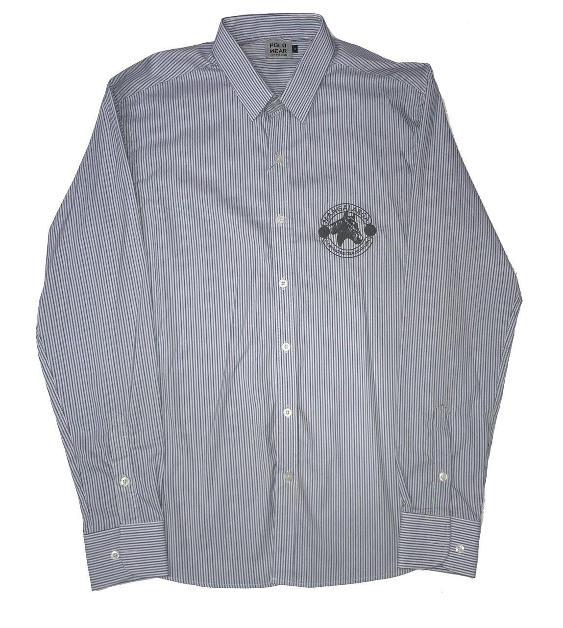 Camisa Top Premium Masculina Listras Cinza e Azul  - Boutique Mangalarga