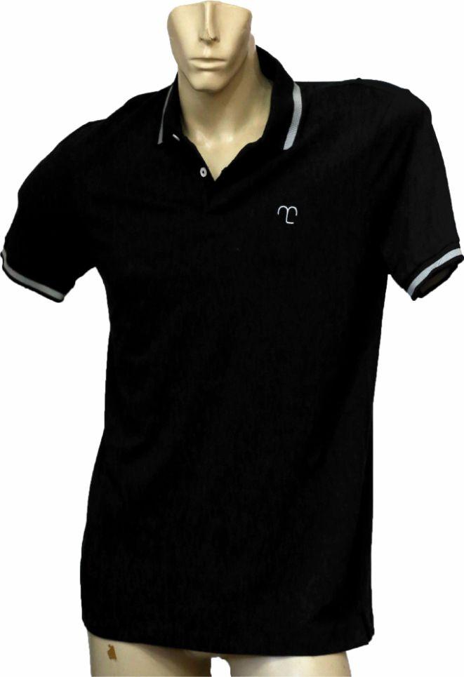 Camisa Polo Confort Masculina Preta  - Boutique Mangalarga