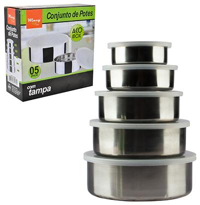 Conjunto de Potes em Inox - 5 Peças  - Eu Organizo