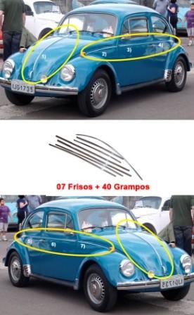 Jogo Friso Fusca Moderno + Grampos 71 72 73 74 94 Aluminio
