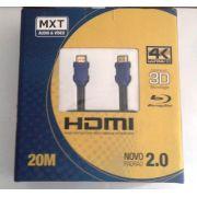 Cabo MXT Hdmi 4K Ultra Hd com Filtro 26AWG Dourado 20 Metros